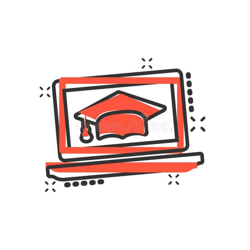 Elearningausbildungsikone in der komischen Art Studienvektorkarikatur-Illustrationspiktogramm Laptop-Computer on-line-Trainingsge vektor abbildung