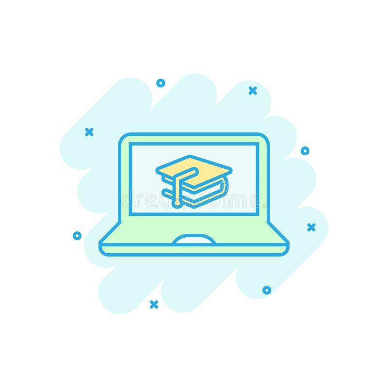Elearningausbildungsikone in der komischen Art Studienvektorkarikatur-Illustrationspiktogramm Laptop-Computer on-line-Trainingsge stock abbildung