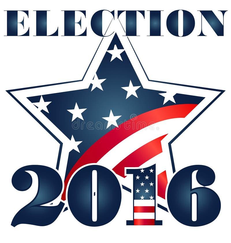 Elección 2016 con el ejemplo de la bandera de los E.E.U.U. ilustración del vector