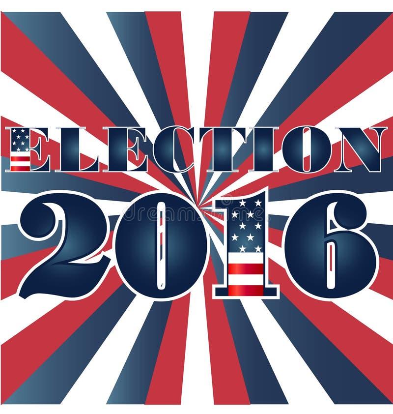 Elección 2016 con el ejemplo de la bandera de los E.E.U.U. stock de ilustración