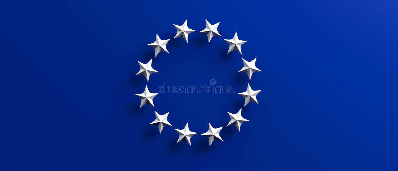 Elección de la unión europea La bandera de la UE con las estrellas blancas circunda en fondo azul ilustración 3D ilustración del vector