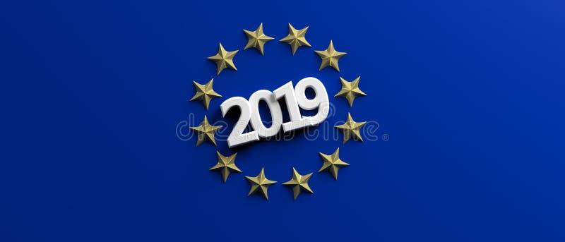 Elección de la unión europea El número blanco 2019 en las estrellas de oro circunda en fondo azul ilustración 3D ilustración del vector