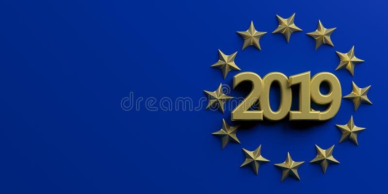 Elección de la unión europea El número del oro 2019 en las estrellas de oro circunda en fondo azul ilustración 3D libre illustration