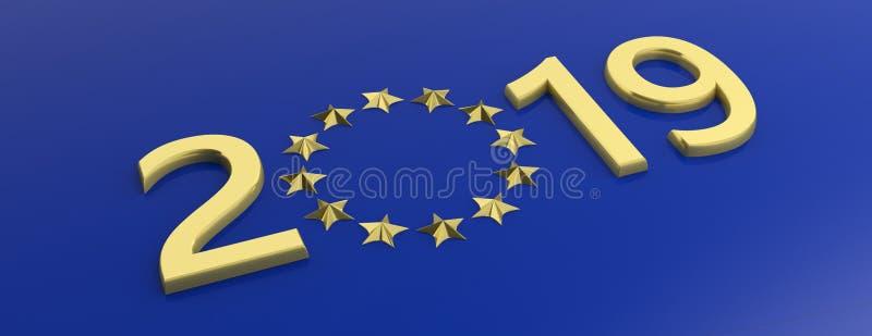 Elección de la unión europea El número del oro 2019 y las estrellas de oro circundan en fondo azul ilustración 3D stock de ilustración