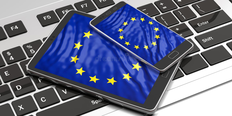 Elección de votación en línea de la unión europea Dispositivos electrónicos con la pantalla de la bandera de la UE ilustración 3D libre illustration