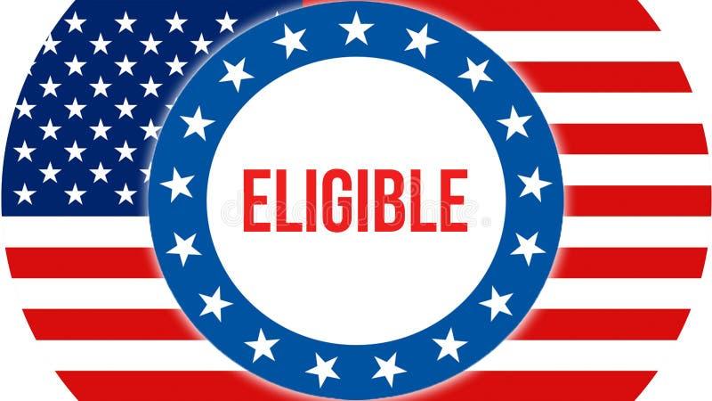 Elección elegible en un fondo de los E.E.U.U., representación 3D Bandera de los Estados Unidos de América que agita en el viento  ilustración del vector
