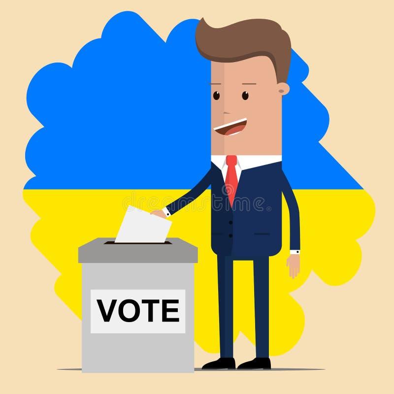 Elección en Ucrania Hombre que pone su voto en la urna Bandera ucraniana en fondo Ilustración del vector ilustración del vector