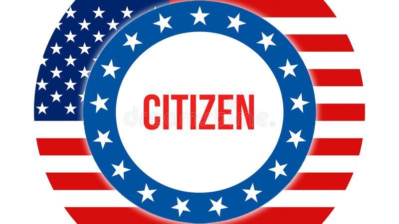 Elección en un fondo de los E.E.U.U., del ciudadano representación 3D Bandera de los Estados Unidos de América que agita en el vi ilustración del vector