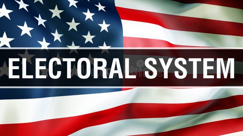 Elección en un fondo de los E.E.U.U., del sistema electoral representación 3D Bandera de los Estados Unidos de América que agita  ilustración del vector