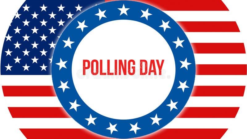Elección en un fondo de los E.E.U.U., de la jornada electoral representación 3D Bandera de los Estados Unidos de América que agit libre illustration
