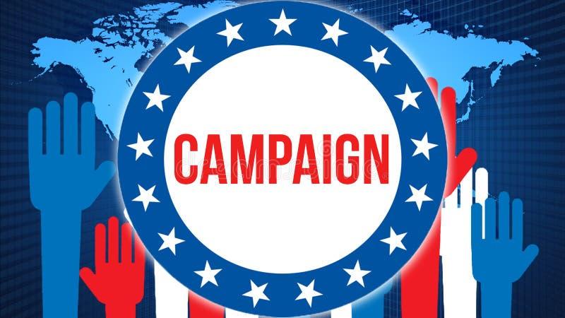 Elección en un fondo del mundo, de la campaña representación 3D Mapa del país del mundo como concepto de la situación política Vo ilustración del vector