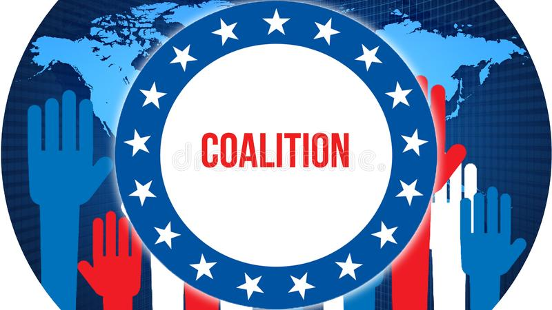 Elección en un fondo del mundo, de la coalición representación 3D Mapa del país del mundo como concepto de la situación política  libre illustration