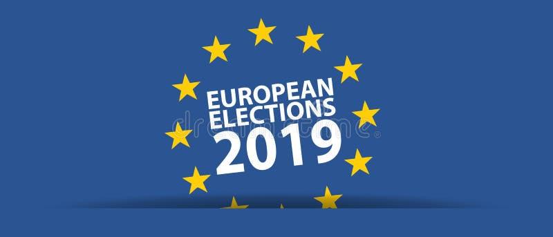 Elección europea 2019 - ejemplo del vector - aislada en azul libre illustration