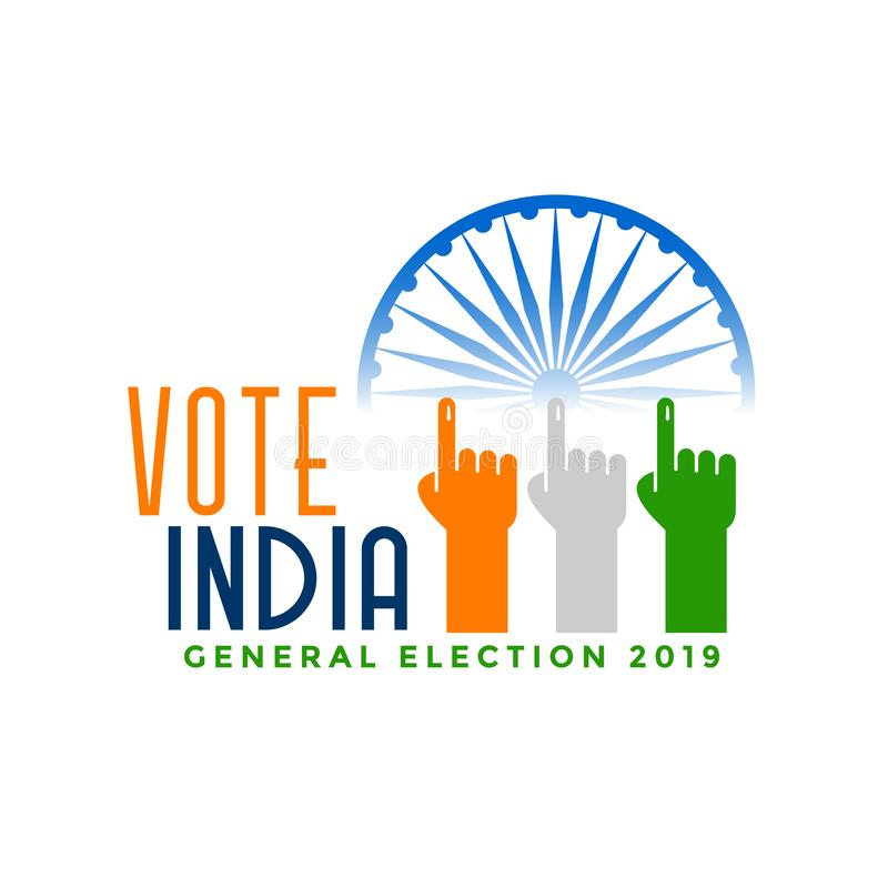 Elección general de la India del voto con la mano del finger ilustración del vector