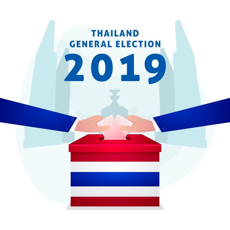 Elección general tailandesa 2019, mano que pone el papel de votación en la urna stock de ilustración