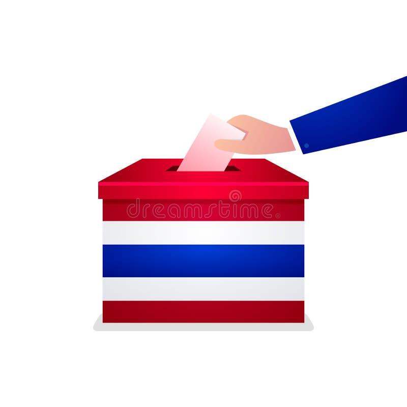 Elección general tailandesa 2019, mano que pone el papel de votación en la urna ilustración del vector