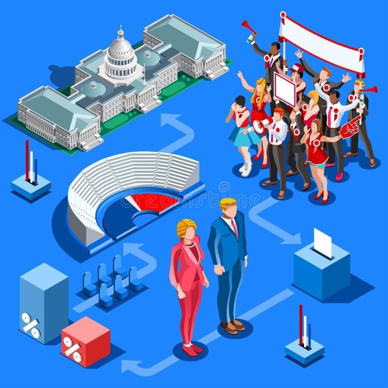 Elección Infographic nosotros gente isométrica del vector político stock de ilustración