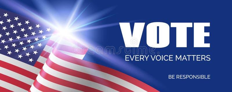 Elección presidencial 2020 de Estados Unidos Plantilla de la bandera del vector Voto ilustración del vector