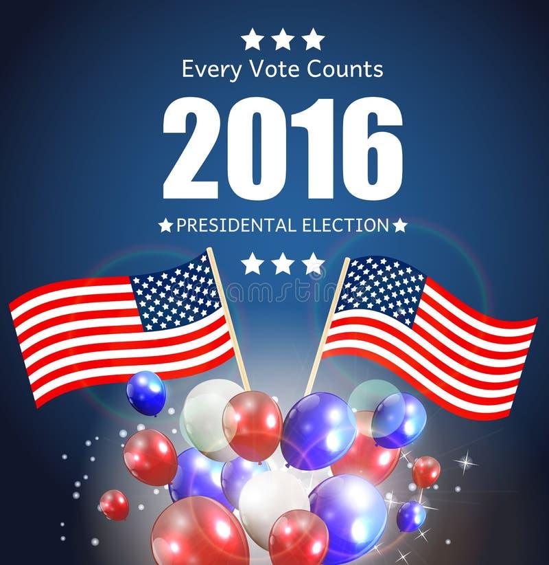 Elección presidencial 2016 en fondo de los E.E.U.U. Puede ser utilizado como prohibición libre illustration