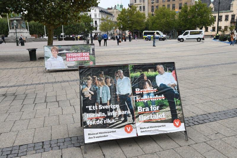 Elección sueca Compaign 2018 en la ciudad Suecia de Malmö imágenes de archivo libres de regalías
