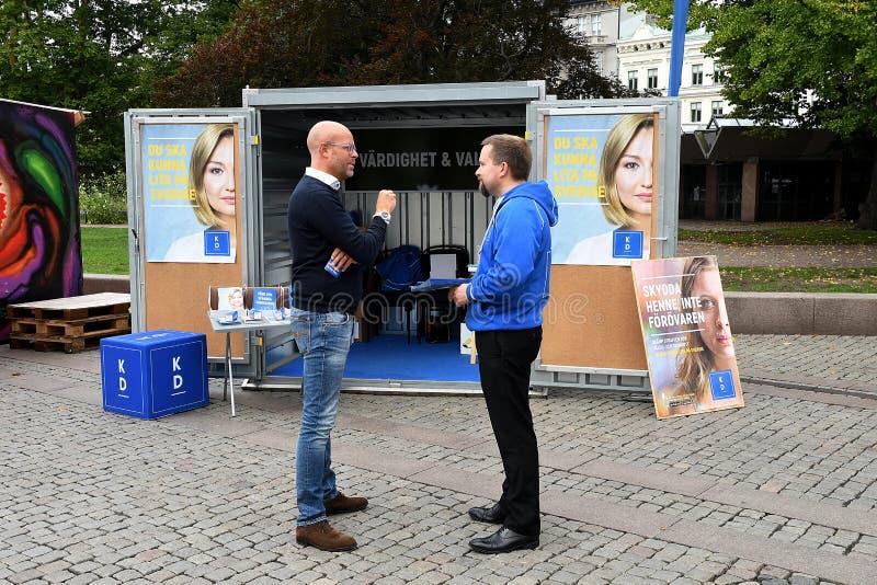 Elección sueca Compaign 2018 en la ciudad Suecia de Malmö fotos de archivo