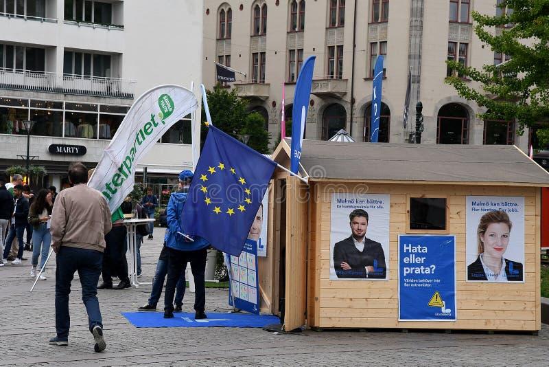 Elección sueca Compaign 2018 en la ciudad Suecia de Malmö fotos de archivo libres de regalías