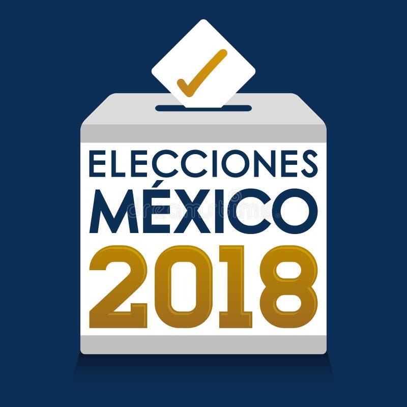 Elecciones Мексика 2018, мексиканськие избрания 2018 испанских языков отправляет СМС, урна для избирательных бюллетеней голосован иллюстрация вектора