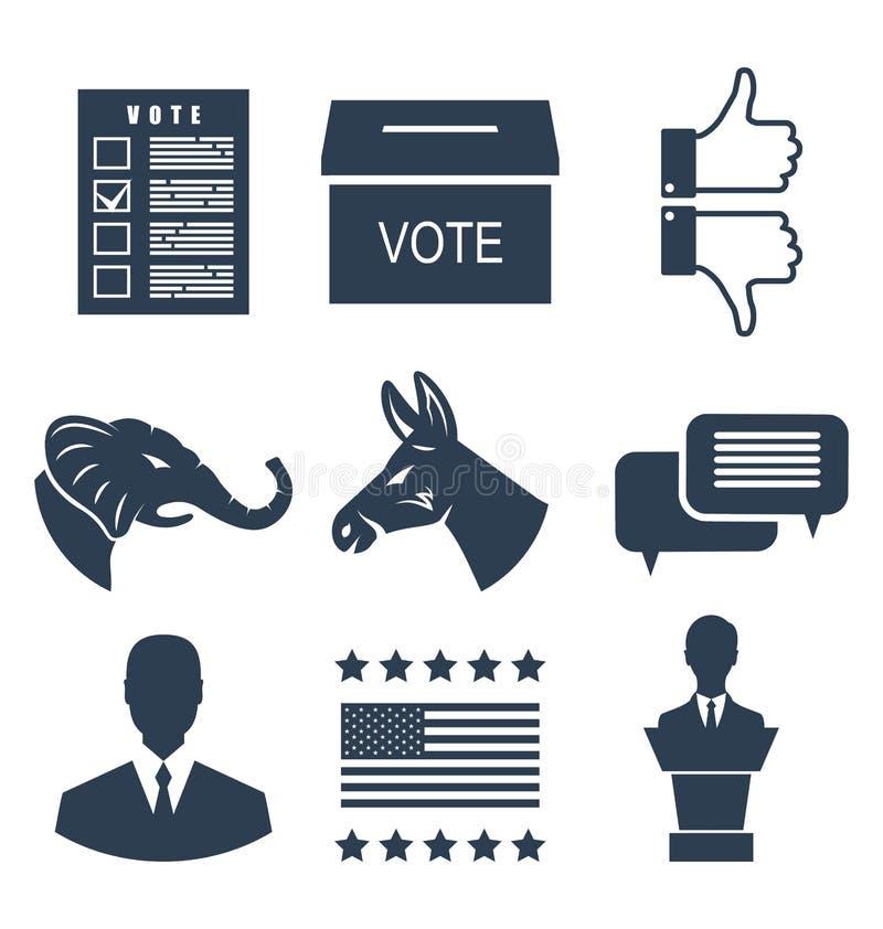 Elecciones, campaña y muestras determinadas de votación Voto de los símbolos de los E.E.U.U. stock de ilustración