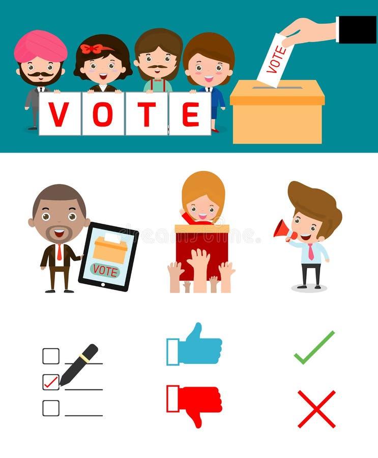 Elecciones con los discusiones de votación, mano que emite un voto, concepto de votación en estilo plano stock de ilustración