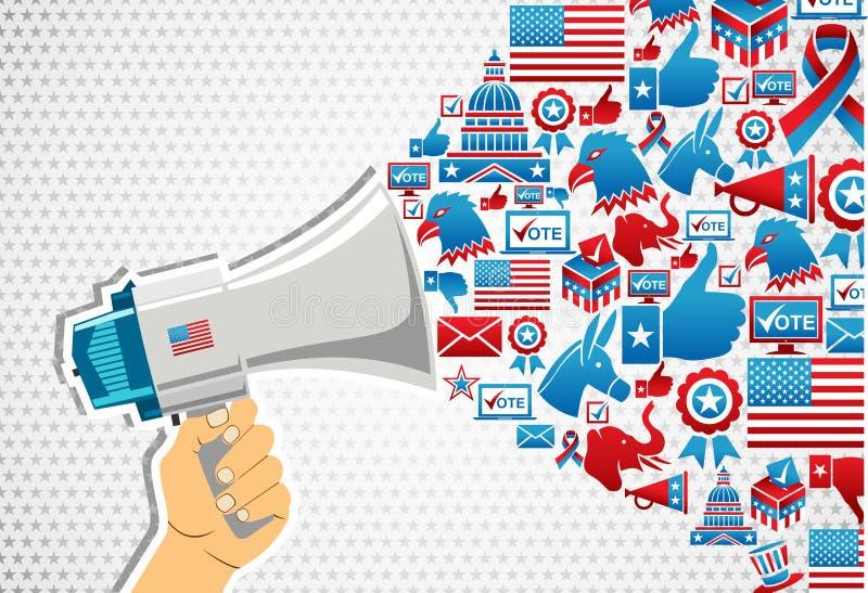 Elecciones de los E.E.U.U.: promoción del mensaje de la política stock de ilustración
