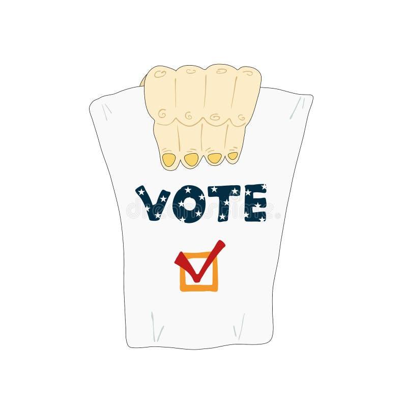 Elecciones en los E.E.U.U. Una mano está mostrando una papeleta electoral ilustración del vector