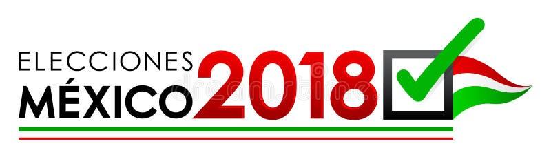 Elecciones Mexique 2018, élections du Mexique 2018 Espagnols textotent, bannière mexicaine d'élection présidentielle illustration stock