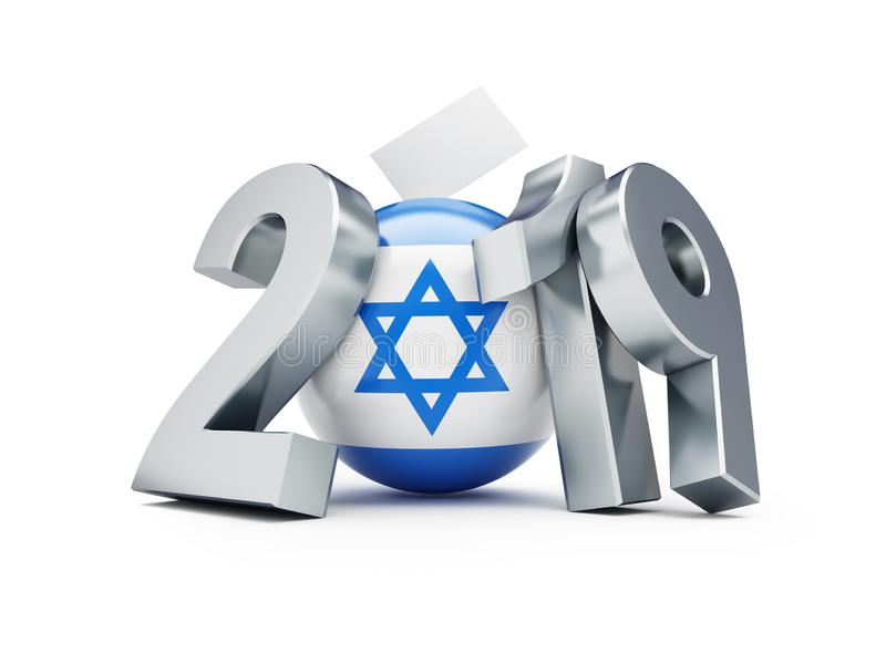 Elecciones parlamentarias en Israel 2019 en un ejemplo blanco del fondo 3D, representación 3D ilustración del vector