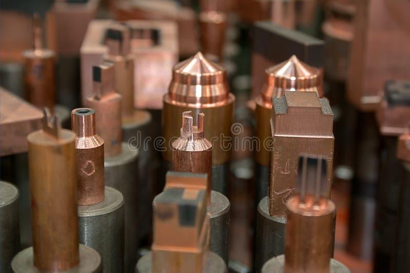 Elecrodes di rame fotografia stock