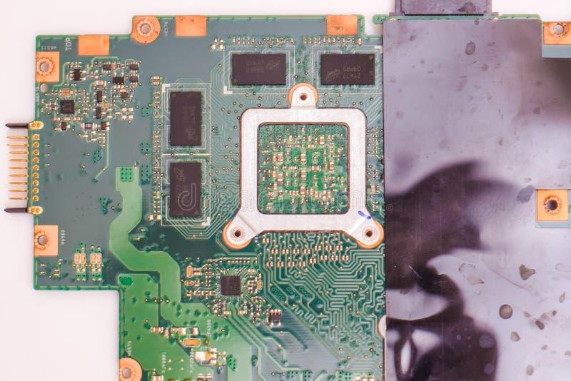 Electical integrieren Stromkreis und microship auf mainboard Abschluss oben lizenzfreie stockbilder