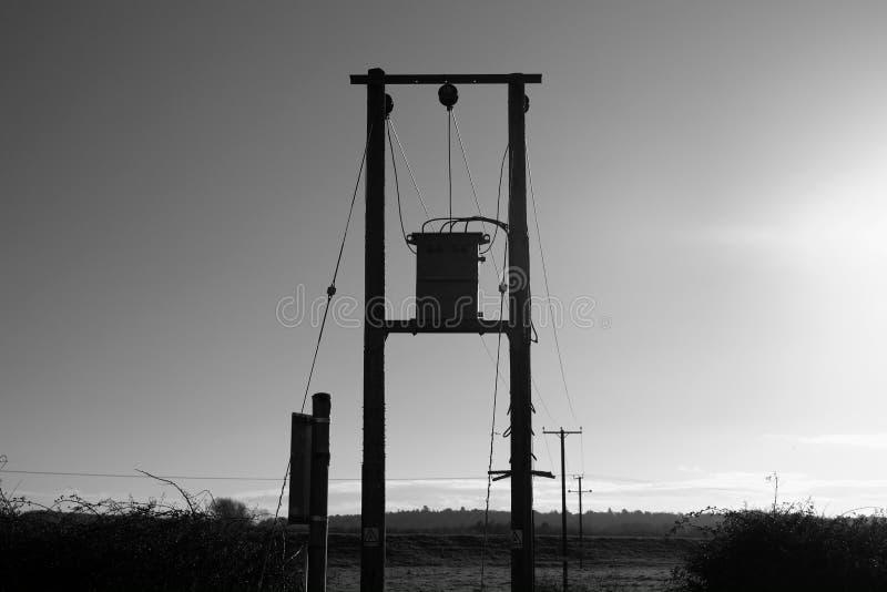 Electicity pylon landscape. Electicity box and poles stock photo