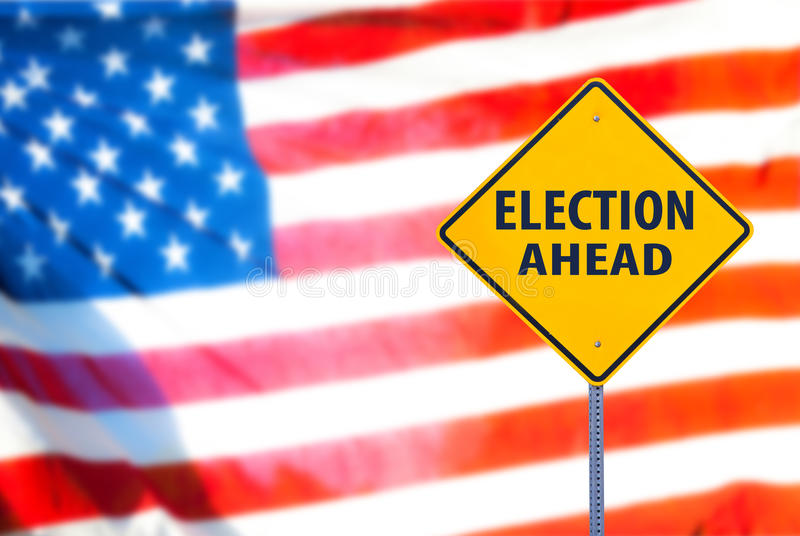 Election Ahead Sign. With the american flag on a background. Horizontal royalty free stock photography