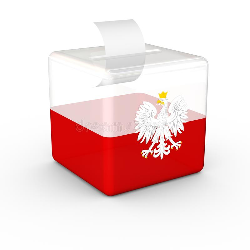 Election Ballot Box Polish Flag. stock illustration