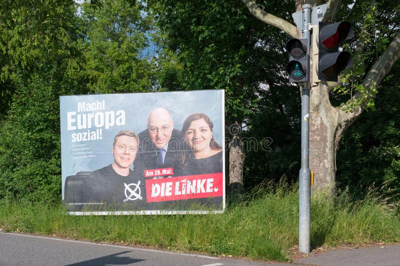 Election campaign billboard of the German political Party The Left for the ninth election to the European Parliament 2019. Heidelberg, Germany - May 19 2019 royalty free stock photography