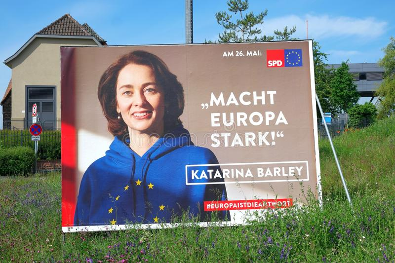 Election campaign billboard of  The Social Democratic Party of Germany SPD for the election to the European Parliament on 26 May royalty free stock images