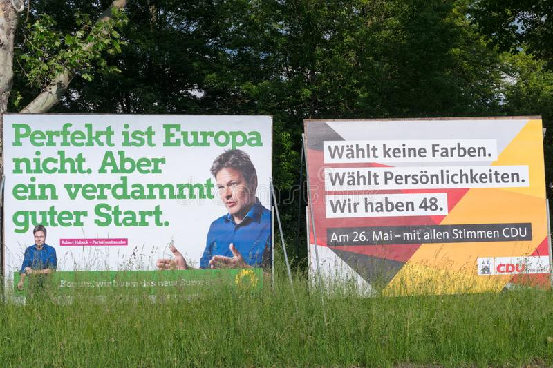 Election campaign billboards of the German political parties The Greens and CDU for the election to the European Parliament 2019 stock images