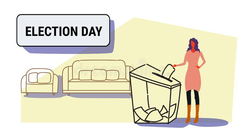 Election day concept businesswoman voter putting paper ballot list in box during voting casual woman female character. Full length sketch doodle horizontal royalty free illustration