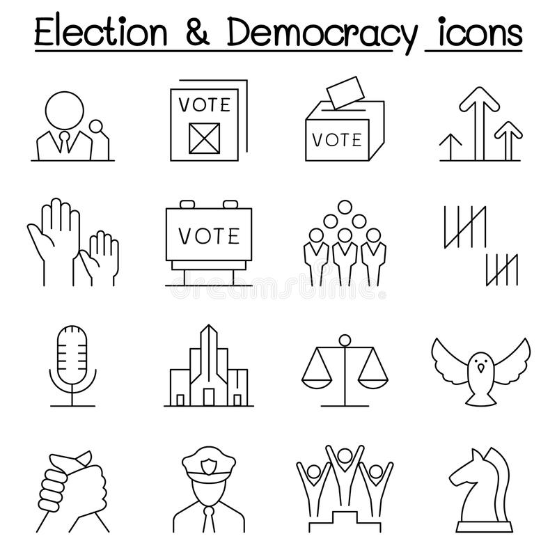 Election & Democracy icon set in thin line style. Illustration graphic design stock illustration