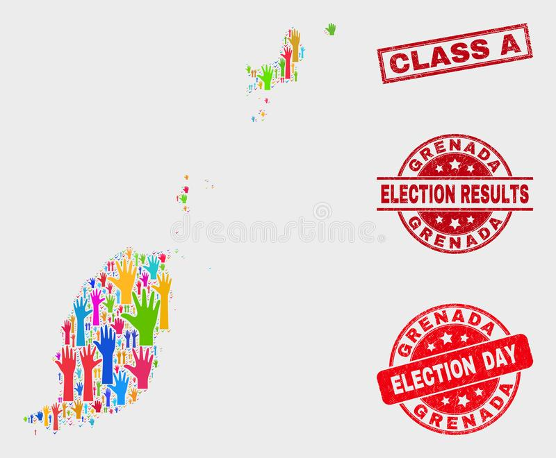Collage of Electoral Grenada Map and Distress Class A Stamp vector illustration