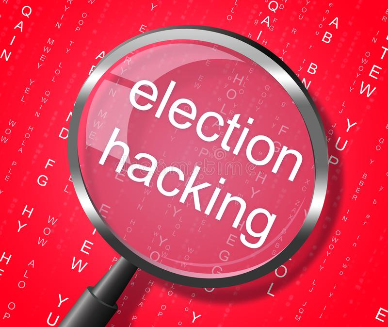 Election Hacking Magnifier Shows Elections Hacked 3d Illustratio. Election Hacking Magnifier Showing Elections Hacked 3d Illustration vector illustration