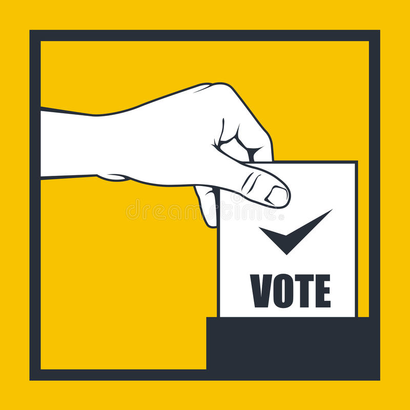 Election - hand throws vote bulletin royalty free illustration