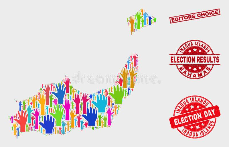 Collage of Voting Inagua Islands Map and Scratched Editors Choice Stamp royalty free illustration