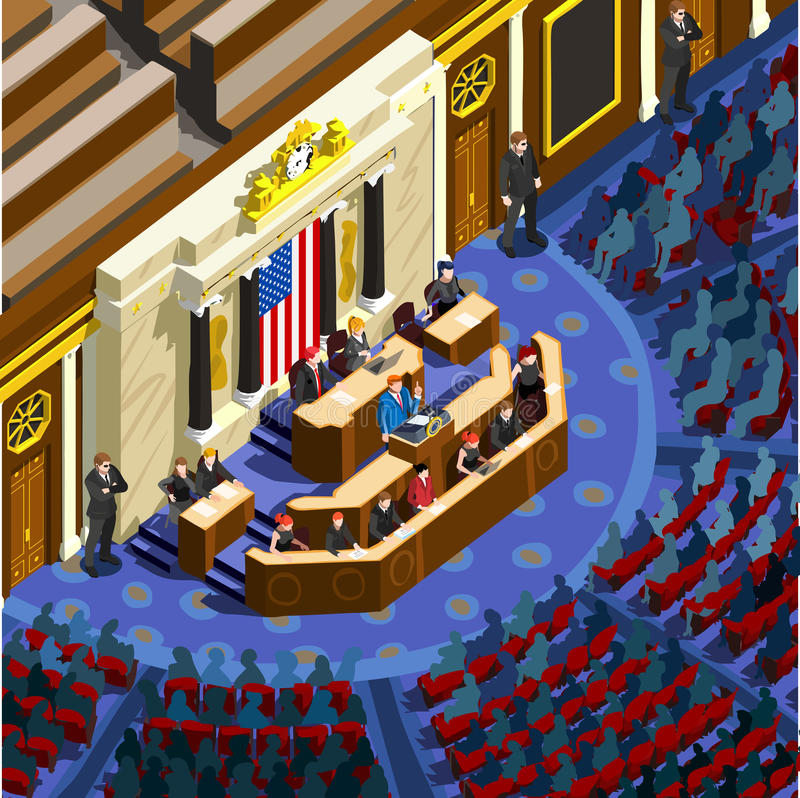Election Infographic Parliament Hall Us Vector Isometric People royalty free illustration