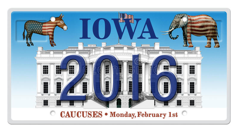 2016 Election License Plate. Digital illustration of a license Plate displaying the presidential election year 2016, the White House, a Republican elephant, a stock illustration