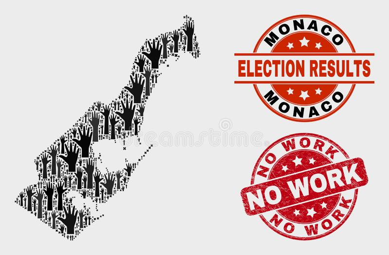 Collage of Election Monaco Map and Grunge No Work Stamp Seal stock illustration